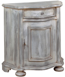 A small side table-cabinet antiqued with paint and glaze.