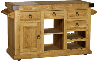 Solid Ash wood roll-away kitchen cabinet.