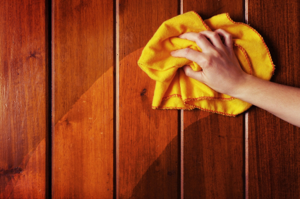 Removing dust and grime from solid wood paneling.