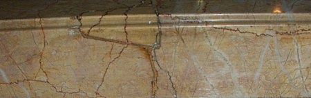 Faux marbleized wood.