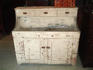 Antique Dry Sink with old peeling paint.