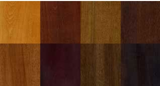 Examples of wood dye stain colors.