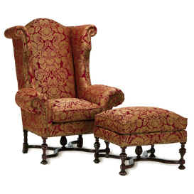 William and Marry Style Armchair-Ottoman