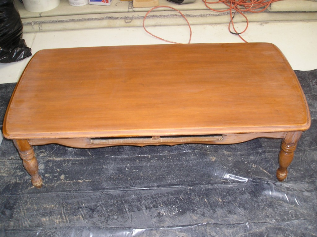 Refinishing a coffee table- before