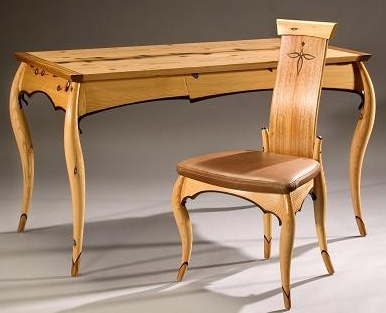 Solid Fir Writing Table and Chair